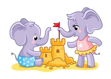 The elephants are playing on the beach in the sand. Animals build a castle. Vector illustration. Cute animals in cartoon style.