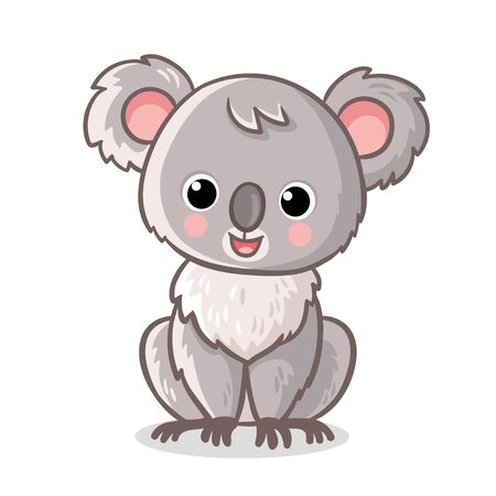 Fluffy koala is sitting on a white background. Vector illustration with cute animal in cartoon style. Illustration