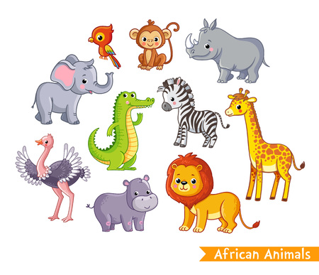 Vector set with african animals. A collection of cute mammals in the savannah in children's style. Illustration