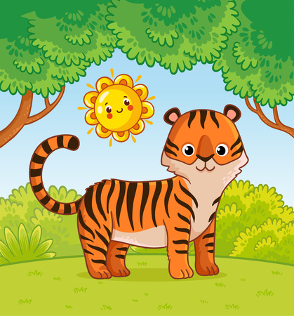 Tiger stands in the forest in the summer. Summer vector illustration in cartoon style.