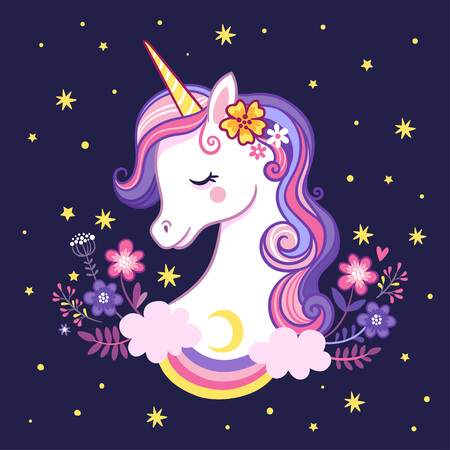 Cute unicorn on a purple background with stars and flowers. Vector illustration in cartoon style. Illustration