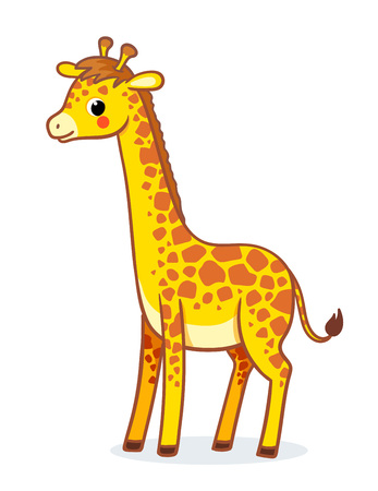 Giraffe stands on a white background. Vector illustration with african animal in childish style.