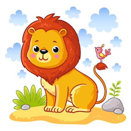 Cute young lion is sitting on a sand meadow. Cute african animal in cartoon style. Vector illustration.