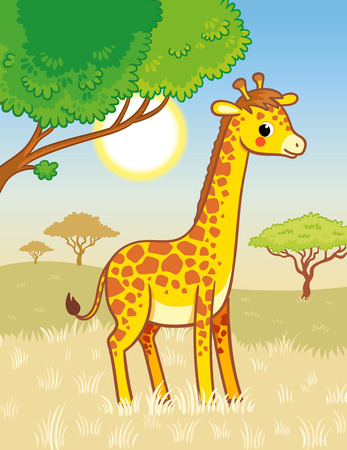 Giraffe stands in the savannah. Cute african animal in cartoon style. Vector illustration.