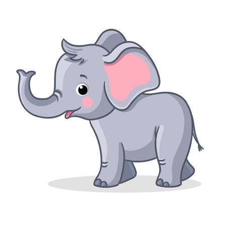 Baby elephant stands and smiles. Vector illustration with cute animal on a white background. Illustration