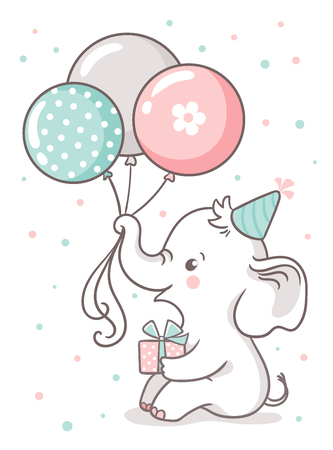 Cute baby elephant sits and holds a balloon balloons. Greeting card with a cute cartoon animal on a white background.
