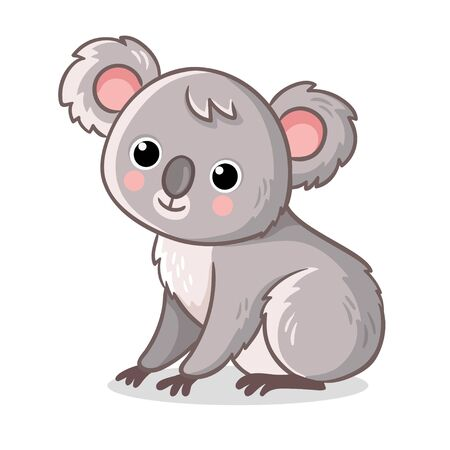 Koala sits on a white background. Cute animal in cartoon style. Vector illustration. Illustration