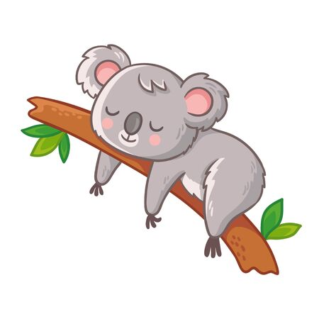 Cute koala is sleeping on a tree. Vector illustration in cartoon style.
