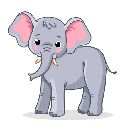 Elephant stands on a white background. Vector illustration in cartoon style.