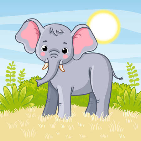 Elephant stands in the savannah. Vector illustration with cute animal. African animal in cartoon style.