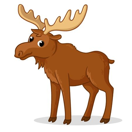 Cute moose with big horns is standing on a white background. Vector illustration with cute wild animal.