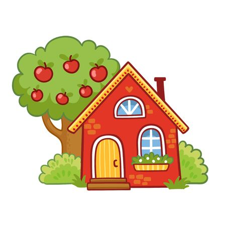 Small house stands next to an apple tree on a white background. Vector illustration in cartoon style. Çizim