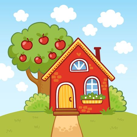Small house stands on a hill next to an apple tree. Vector illustration in cartoon style. Çizim