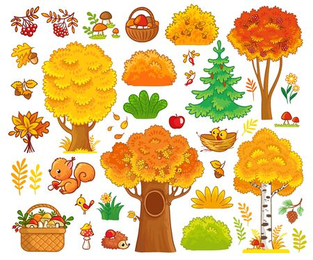 Vector set with trees and forest animals. Collection of autumn trees and cute mammals.