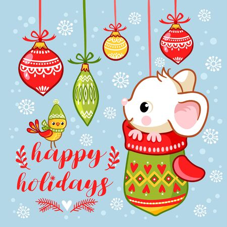 The little mouse is sitting in a Christmas mitten. Vector New Year greeting card with inscription. Illustration