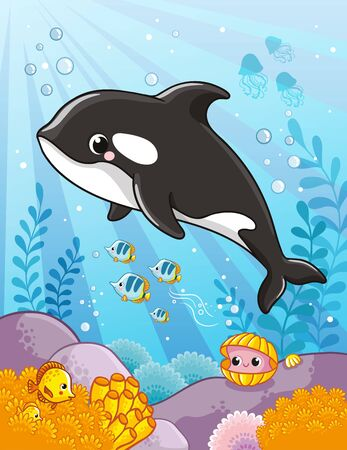 Cute killer whale in cartoon style. Vector illustration.