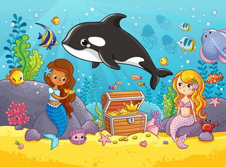 Cute orca whale swims. Vector illustration on the marine theme with Killer Whale and mermaid in a cartoon style.