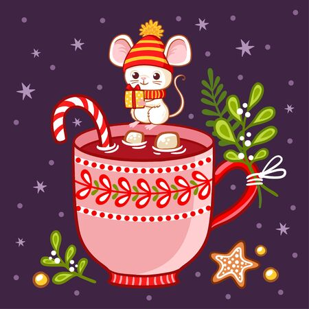 Cute mouse in winter hat sits on cup of hot chocolate. Vector Christmas and New year illustration on a winter theme in cartoon style.