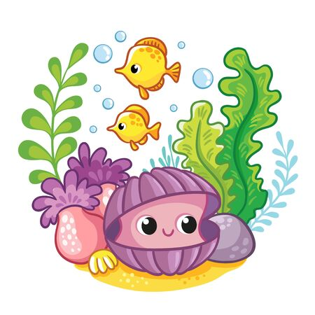 Cute clam on the bottom of the sea among algae and fish. Vector illustration in cartoon site.