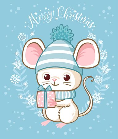 Vector illustration with a mouse that is holding a gift on a Christmas theme. New Year Greeting Card.