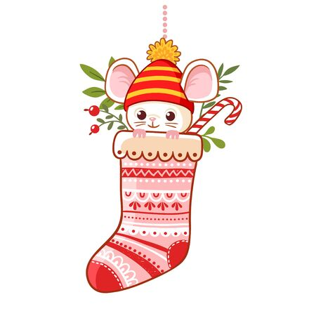 Christmas sock with a cute little mouse inside. Traditional New Year greeting card in cartoon style on a white background.