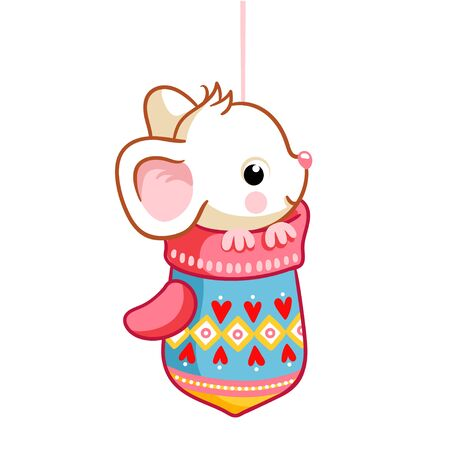 Cute little mouse sitting in a mitten on a white background. Vector illustration in cartoon style on a Christmas theme. Illustration