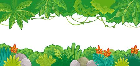 Vector background on jungle theme in cartoon style. Illustration with plants on a white background.