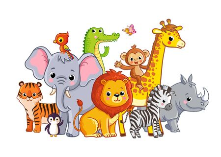 Vector illustration with african animals on a white background. Cute animals in cartoon style. Big set.