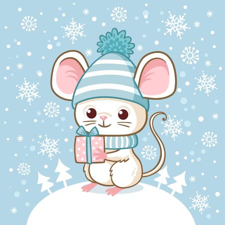 Cute little mouse in a winter hat stands on a snowdrift and holds a surprise in his hand. New Year illustration with a mouse. Illustration