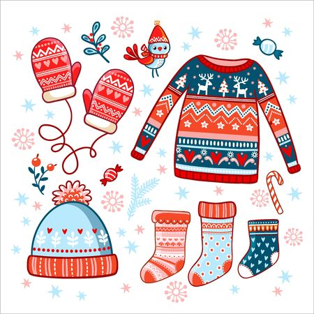 Collection of winter christmas clothes on a white background. Set of warm stuff in New Year's style. Illustration