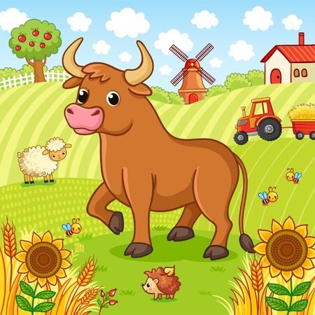Bull stands on a field next to a hedgehog and a sheep. Vector illustration with farm and pets. The tractor is carrying hay.