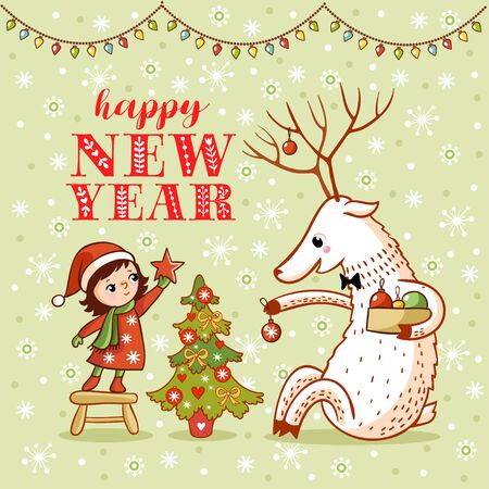 Vector Christmas theme card with cute girl and deer decorate a Christmas tree. New year illustration design with baby and animal.