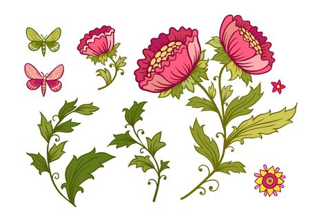 Vector illustration set of flowers. Vector illustration with beautiful flowers and butterflies.
