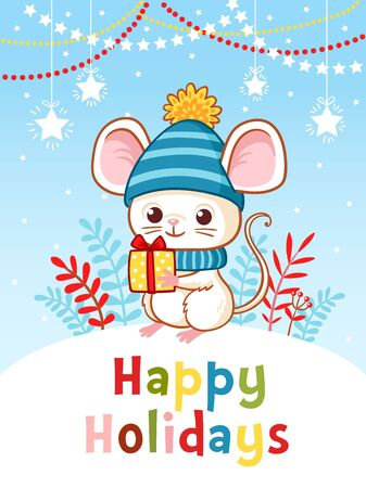 Little mouse is standing on a hill holding a New Years gift. Christmas card with a cute rodent on a background of blue sky.