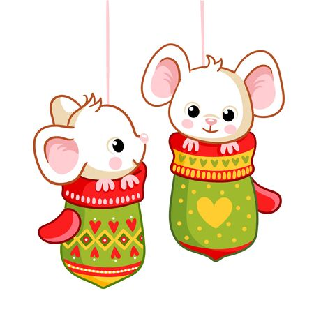 Little mice sitting in the Christmas mittens on a white background. Vector illustration on a Christmas theme. Banque d'images - 135645359