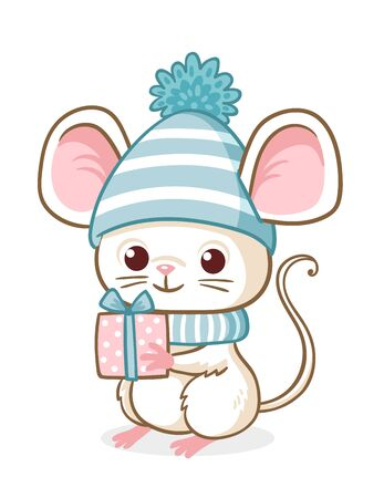 Cute little mouse in a blue Christmas hat is holding a Christmas present. Vector illustration with animal rodent on a white background. Illustration