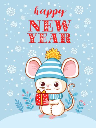 New Year Greeting Card. Vector illustration with a mouse that is holding a gift on a Christmas theme. Illustration