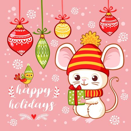 Christmas card with a cute little mouse that holds a gift in his hands on a pink background with Christmas toys. Vector illustration in cartoon style on a Christmas theme. Banque d'images - 138988925