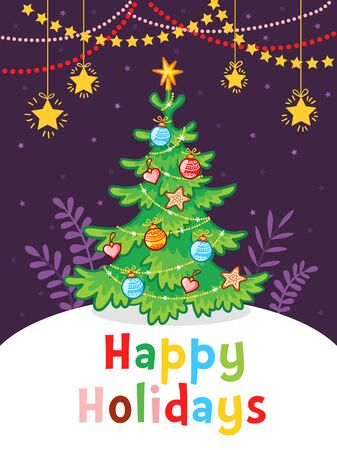 New Year greeting card with the inscription. Christmas tree with garlands on a purple background.