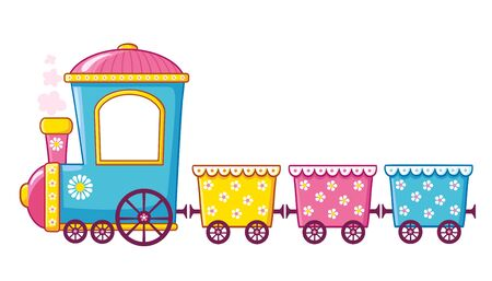 Little train in cartoon style on a white background. Vector illustration with a children's toy. Illustration