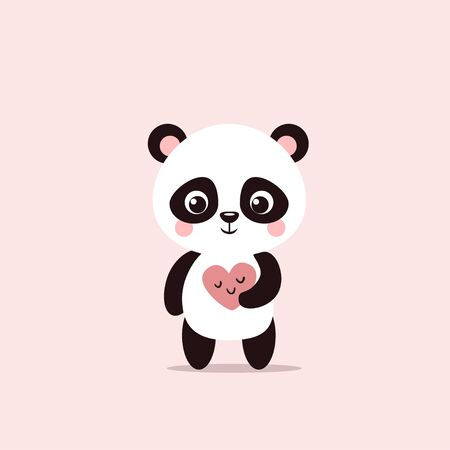 Cute little panda holds a Valentine in his hands. Vector animal on a pink background with a card. Banque d'images - 138913109