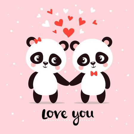Two little cute pandas hold hands among hearts. Vector greeting card with animals and text on a pink background. Illustration