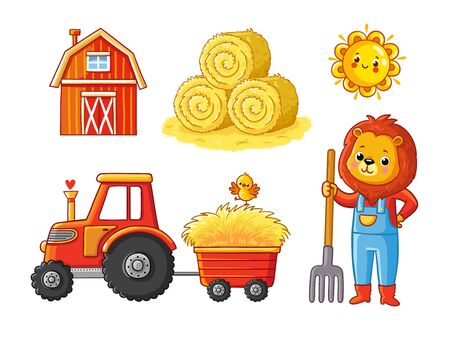 Vector set on a farm theme on a white background. Agricultural collection with animals and a tractor.