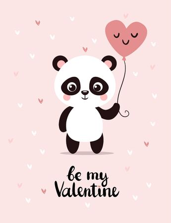 Cute little panda holds a balloon in his hands. Banque d'images - 140753979