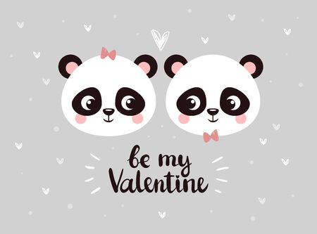 Two little faces of pandas are looking at each other among hearts on a gray Banque d'images - 140753980