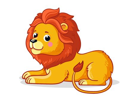 Cute young lion is sitting on a white background. Vector illustration with an african animal in cartoon style. Illustration