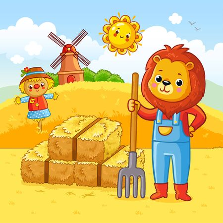 Lion is working on a farm. Vector illustration on a farm theme in cartoon style. Banque d'images - 139014783