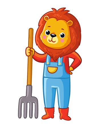 Lion stands with a pitchfork in his hand and a suit of a gardener. Vector illustration with animal on a white background. Illustration