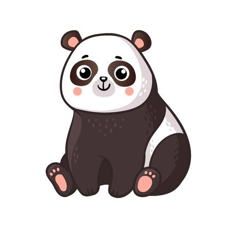 Cute panda sits on a white background. Vector illustration with cute animal in cartoon style.