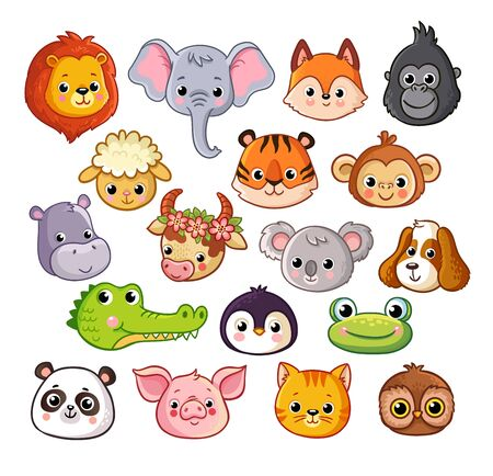 Vector set with animals in cartoon style on a white background. Pets and African animals. Wildlife and mammals collection. Banque d'images - 141093615